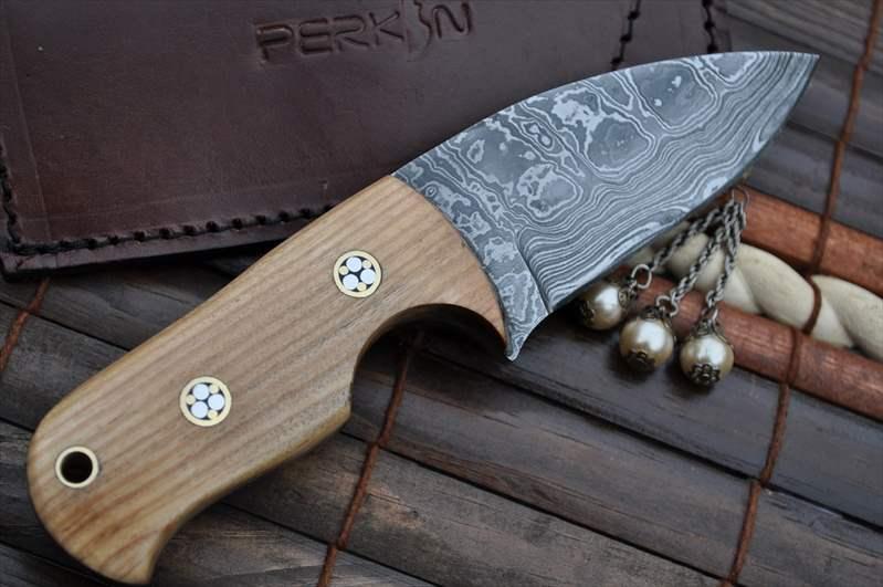 Custom Made Damascus Bushcraft Knife Neck Knife Perkin