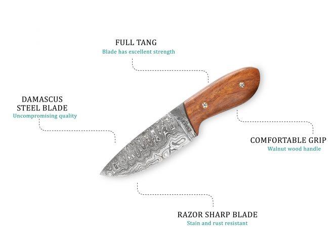 Damascus Steel Bushcraft Knife with Leather Sheath