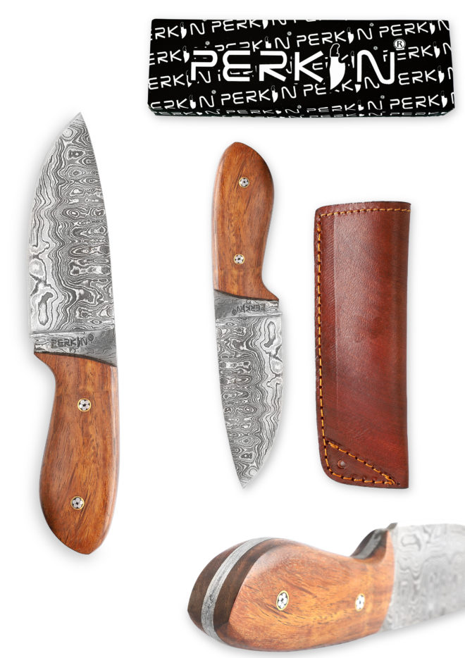 Damascus Steel Bushcraft Knife with Leather Sheath