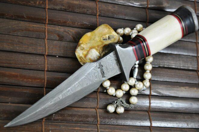 Handmade Damascus Hunting Knife with Bone & Wood Handle
