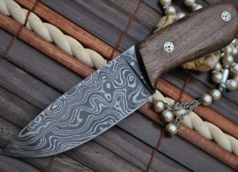 BUSHCRAFT KNIFE DAMASCUS STEEL & BURL WOOD HANDLE WITH LEATHER SHEATH