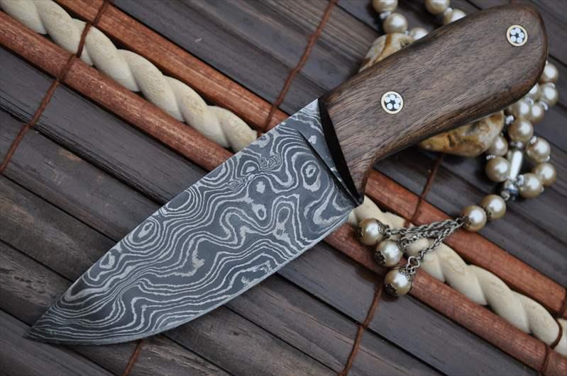 Burl Wood Handle Bushcraft Knife With Leather Sheath