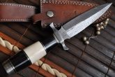 CUSTOM DAMASCUS HUNTING KNIFE DOUBLE EDGE BLADE WITH LEATHER SHEATH