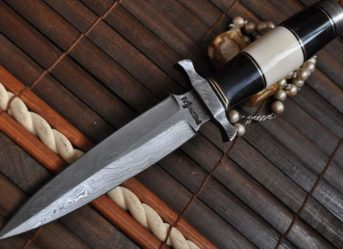 Double Edge Blade Damascus Hunting Knife With Leather Sheath
