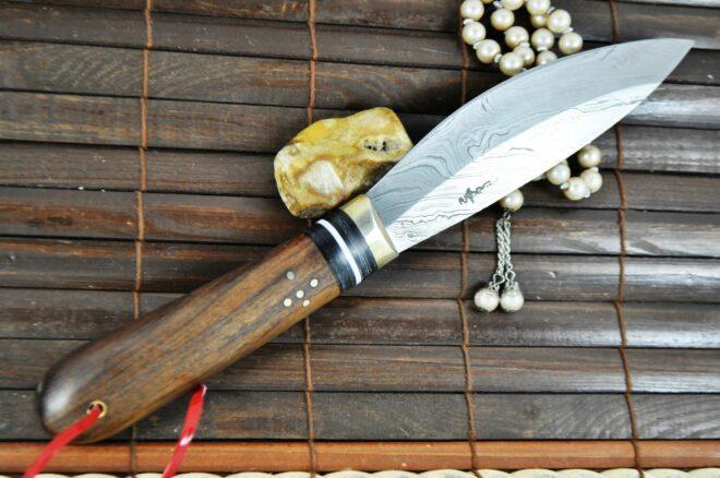 Custom Handmade Damascus Hunting Knife with Burl Wood Handle