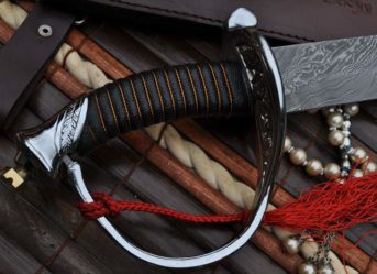 CUSTOM HANDMADE DAMASCUS HUNTING KNIFE - LEATHER HANDLE MINI SWORD