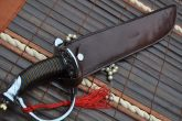 CUSTOM HANDMADE DAMASCUS HUNTING KNIFE - LEATHER HANDLE MINI SWORD