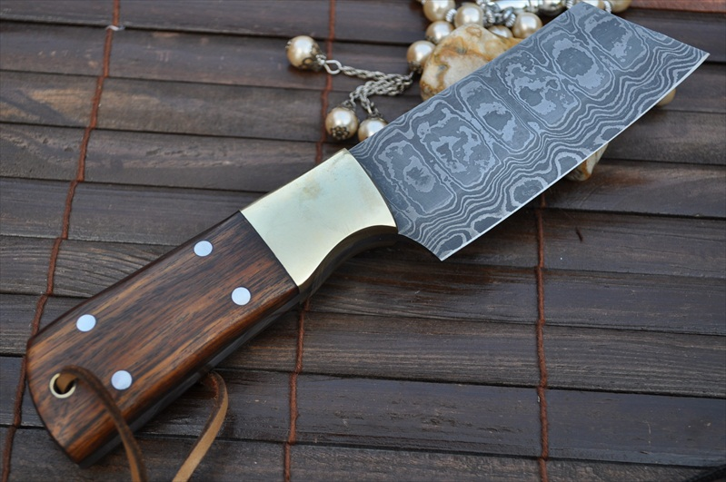 Custom Handmademade Damascus Chef Knife Walnut Handle Perkin