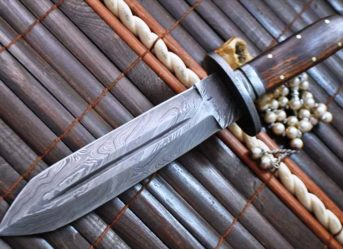 Full Tang Custom Made Damascus Hunting Knife with Double Edge