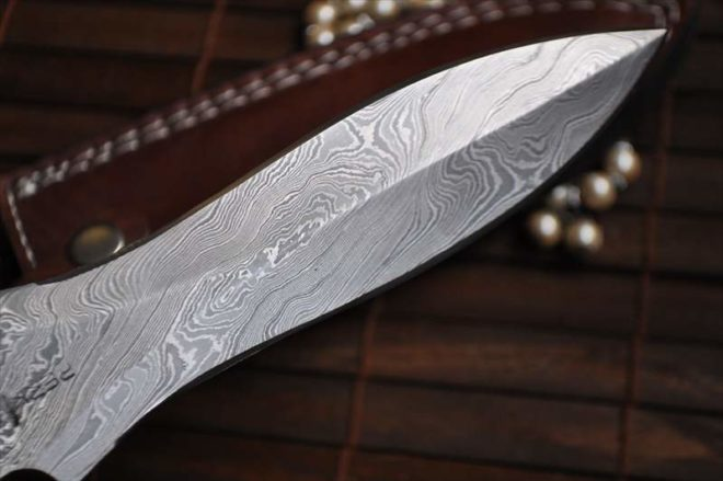 Damascus Double Edge Hunting Knife with Pear Wood & Buffalo Horn handle