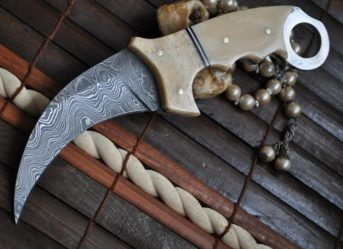 Damascus Hunting Knife with Bone Handle (Karambit Knife)