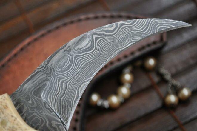 Damascus Hunting Knife with Bone Handle (Karambit Knife)