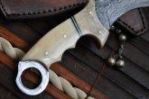 DAMASCUS HUNTING KNIFE-BONE HANDLE karambit knife