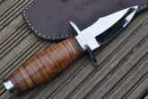 HUNTING KNIFE WITH LEATHER HANDLE