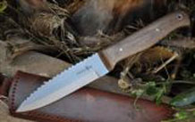 CUSTOM MADE DAMASCUS HUNTING KNIFE BURL WOOD & MAMMOTH HANDLE