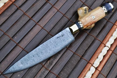 Handcrafted Damascus Chef Knife Root Wood & Mosaic Pin Handle