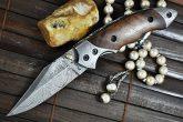 Custom made Damascus Folding Knife - Perkins English Handmade knives - MW