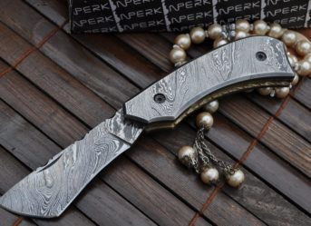 Custom made All Damascus Pocket Knife Damascus handle -By Koobi- For camping and Bushcraft