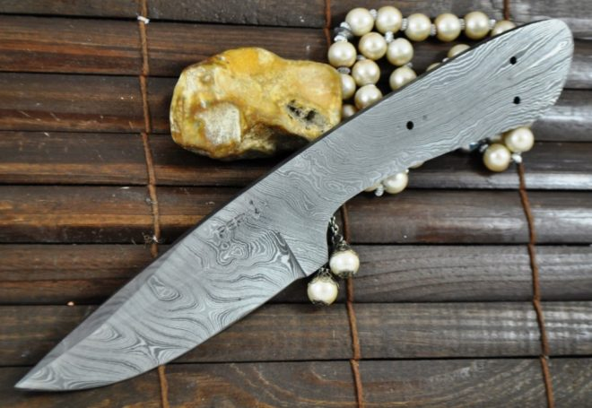 Damascus Steel Blank Blade For Hunting Knife