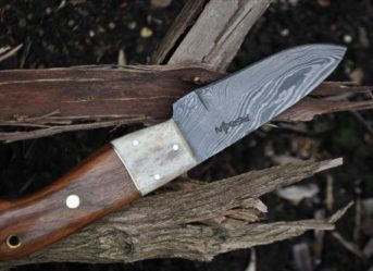 Damascus Hunting Knife with Burl Wood & Mammoth Handle - 4 Inches
