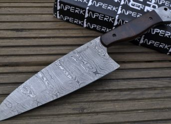 Genuine Damascus Steel Chef Knife With Full Tang Blade