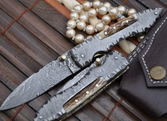 Damascus Steel Knife with Liner Lock Mechanism