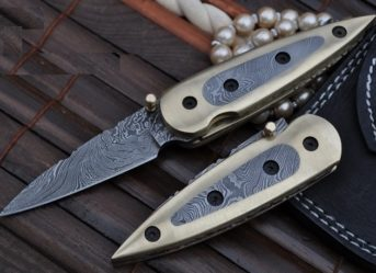 All Damascus Folding Knife Fabulous with Brass Work