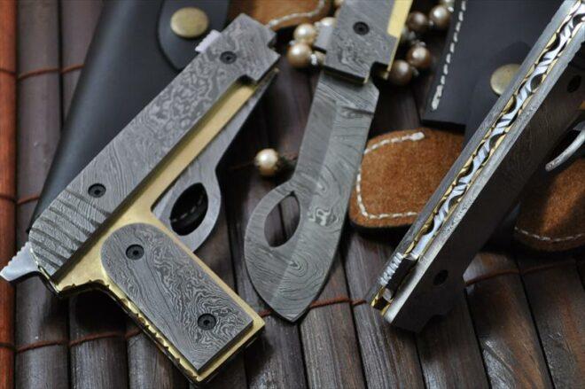 Custom Handmade All Damascus Pocket Knife Real Art by Mr. Koobi - Big Sale