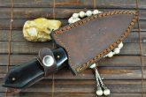 BIG SALE - HANDMADE DAMASCUS HUNTING KNIFE- DOUBLE EDGE & BUFFALO HORN HANDLE