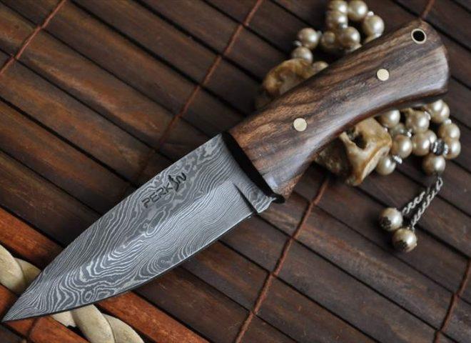 BUSHCRAFT KNIFE DAMASCUS STEEL FULL TANG BURL WOOD -WORK OF ART BY CHRIS