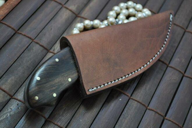Handmade Bushcraft Hunting & Camping Knife with Burl Wood