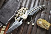 Full Damascus Folding Knife With Leather Pouch