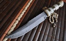 HANDMADE BEAUTIFUL DAMASCUS HUNTING KNIFE - BUFFALO HORN & MOSAIC PINS