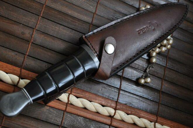 Custom Damascus Double Edge Hunting Knife With Leather Sheath