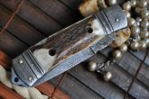 Custom Damascus Folding Knife with Handmade Leather Pouch