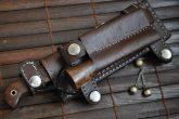 Custom Damascus Hunting/Bushcraft Knife with Handmade leather sheath