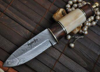 Custom Damascus Hunting Knife with Burl wood & Mammoth Bone Handle
