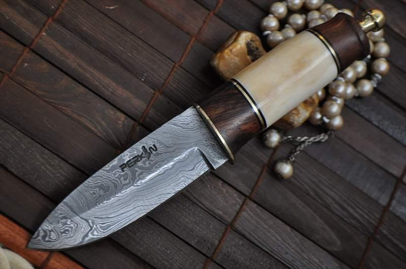 Custom Damascus Hunting Knife With Burl Wood Amp Mammoth