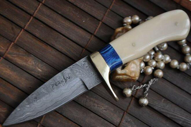 Custom Damascus Hunting Knife With Mammoth Handle & Sheath