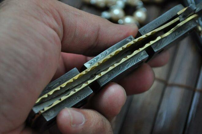 Custom Handmade All Damascus Double Folding Knife Work of Art By Mr. Koobi