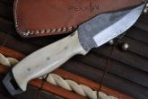CUSTOM HANDMADE DAMASCUS BUSHCRAFT KNIFE MAMMOTH HANDLE FULL TANG