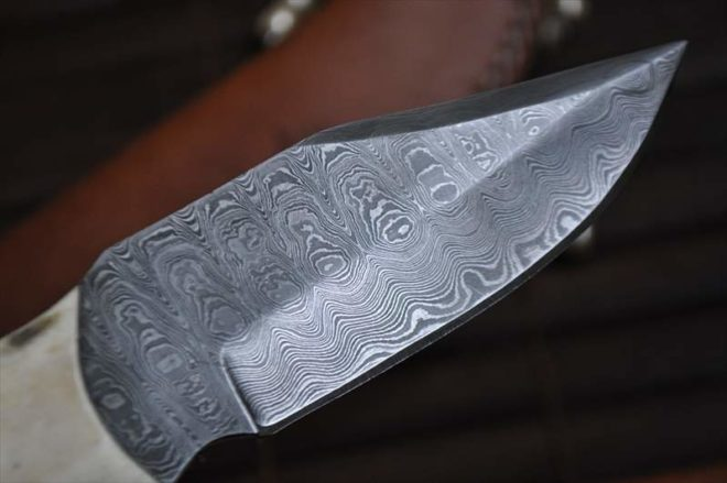 Full Tang Stunning Damascus Handmade Bushcraft Knife - Mammoth Handle
