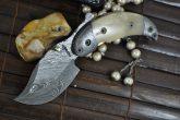CUSTOM HANDMADE DAMASCUS FOLDING KNIFE BONE HANLDE