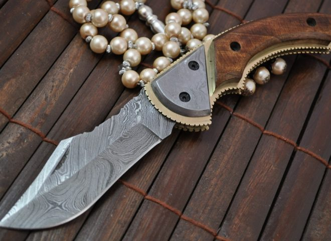 Custom Handmade Damascus Folding Knife with Pear Wood Handle