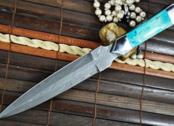 CUSTOM HANDMADE DAMASCUS HUNTING KNIFE - DOUBLE EDGE & BONE HANDLE