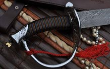 Damascus Folding Knife Camel Bone n Damascus Handle with Handmade Leather Pouch