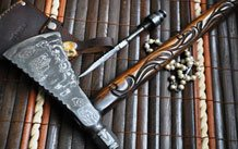 BUSHCRAFT KNIFE DAMASCUS STEEL FULL TANG BURL WOOD -WORK OF ART BY CHRIS- HBRK