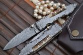 Custom Made All Damascus Folding Knife With Stag in Handle