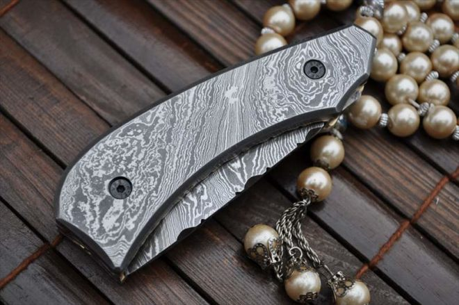 Custom made All Damascus Pocket Knife Damascus handle - By Koobi - For C amping and Bushcraft