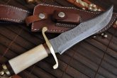 CUSTOM MADE DAMASCUS BOWIE KNIFE BONE HANDLE